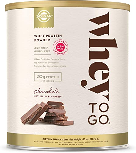 Solgar Whey To Go Whey Protein Powder, Chocolate, 42 oz – Whey Protein Isolate and Concentrate – Mixes Easily for Smooth Taste – Gluten Free – 20g Protein per Serving