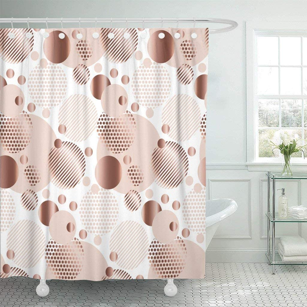 Amazon Com Abaysto Pink Rose Gold Color Abstract Circle Geometry Tender Elegant Polyester Fabric Shower Curtain Sets With Hooks Waterproof Mildew Bathroom Decor Home Kitchen