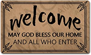 Funny Welcome Door Mat(18 x 30 inch) Personalized Rugs with Anti-Slip Rubber Back Novelty Gift Doormat for Entrance Way Kitchen Rugs (Welcome May God Bless Our Home and All Who Enter)