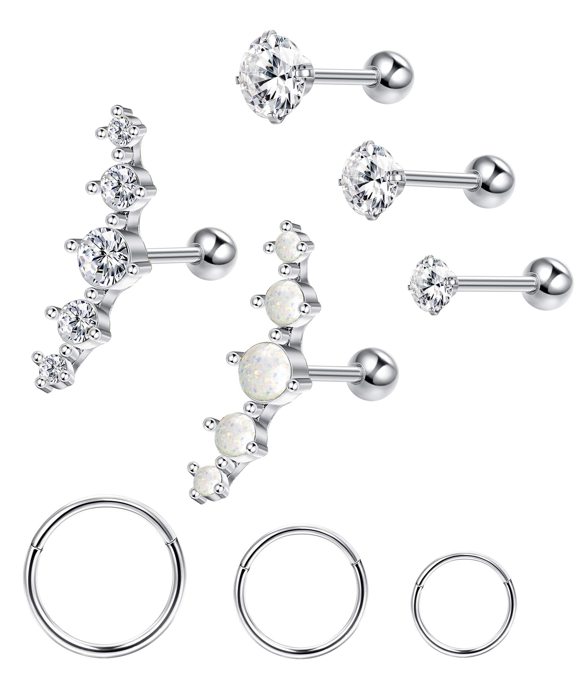 Adramata Stainless Steel Cartilage Earrings for Women Ball CZ Helix Conch Daith Piercing Stud Earrings Jewelry Set by Adramata