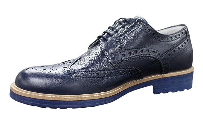 Scarpe Francesine uomo vera pelle blu lucido casual eleganti 40 41 42 43 44  45 ( c2eae67b0a3