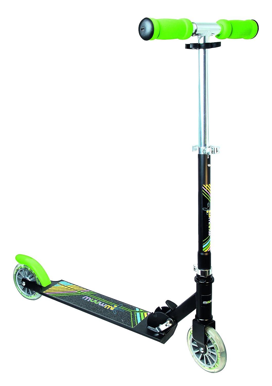 Authentic Sports & Toys GmbH–Scooter de Aluminio muuwmi Neon 125mm, con Luces en Las Ruedas, Color Negro/Verde 102