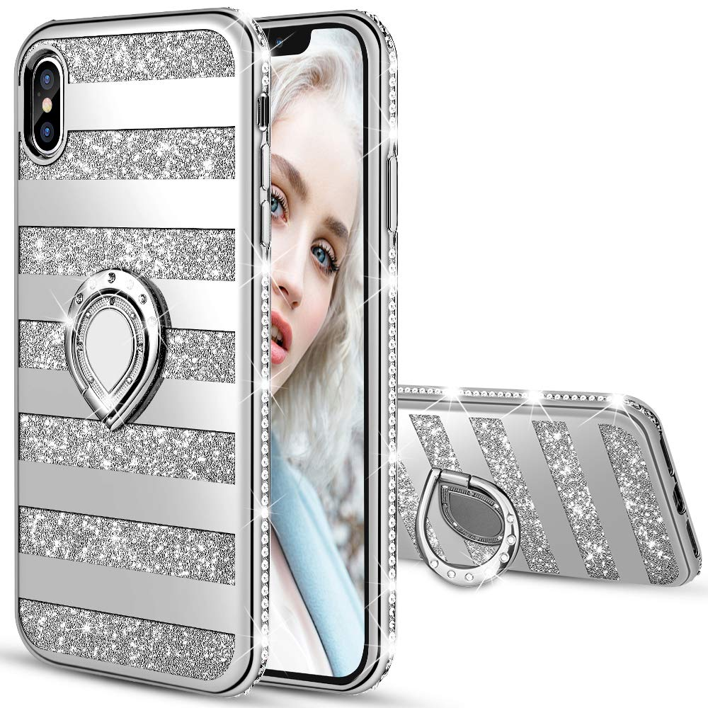 Maxdara Case for iPhone Xs Max Glitter Case Striped Ring Grip Holder Kickstand with Bling Sparkle Diamond Rhinestone Protective Bumper Luxury Pretty Fashion Girls Women XS Max Case 6.5 inches (Silver) by Maxdara