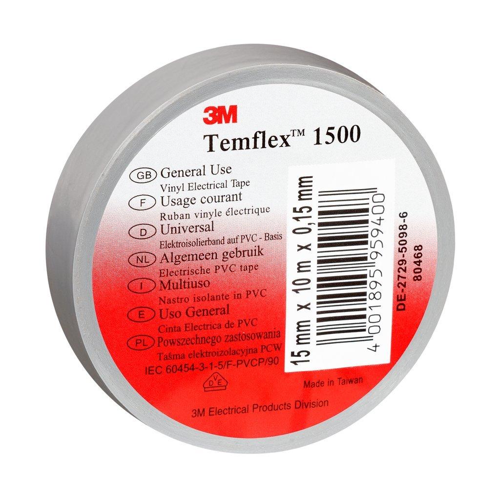 3 M tgra2525 TEMFLEX 1500 vinilo elé ctrico de cinta aislante, 25 mm x 25 m, 0,15 mm, Gris 25mm x 25m 15mm 3M 7000062315