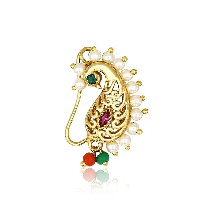Buy Meenaz Maharashtrian Traditional Temple Jewellery Peacock Moti