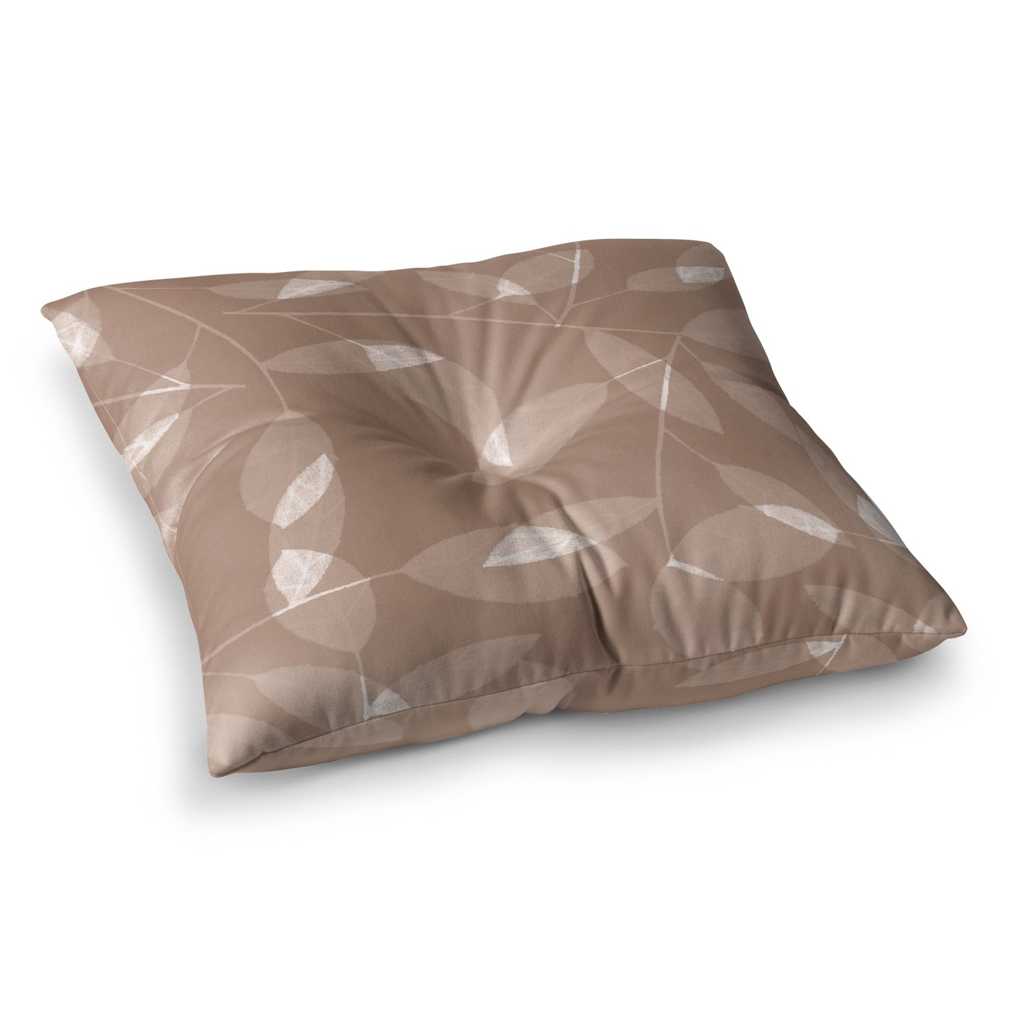 18 by 18 Kess InHouse Alison Coxon Leaf Tawny Brown Beige Throw Pillow