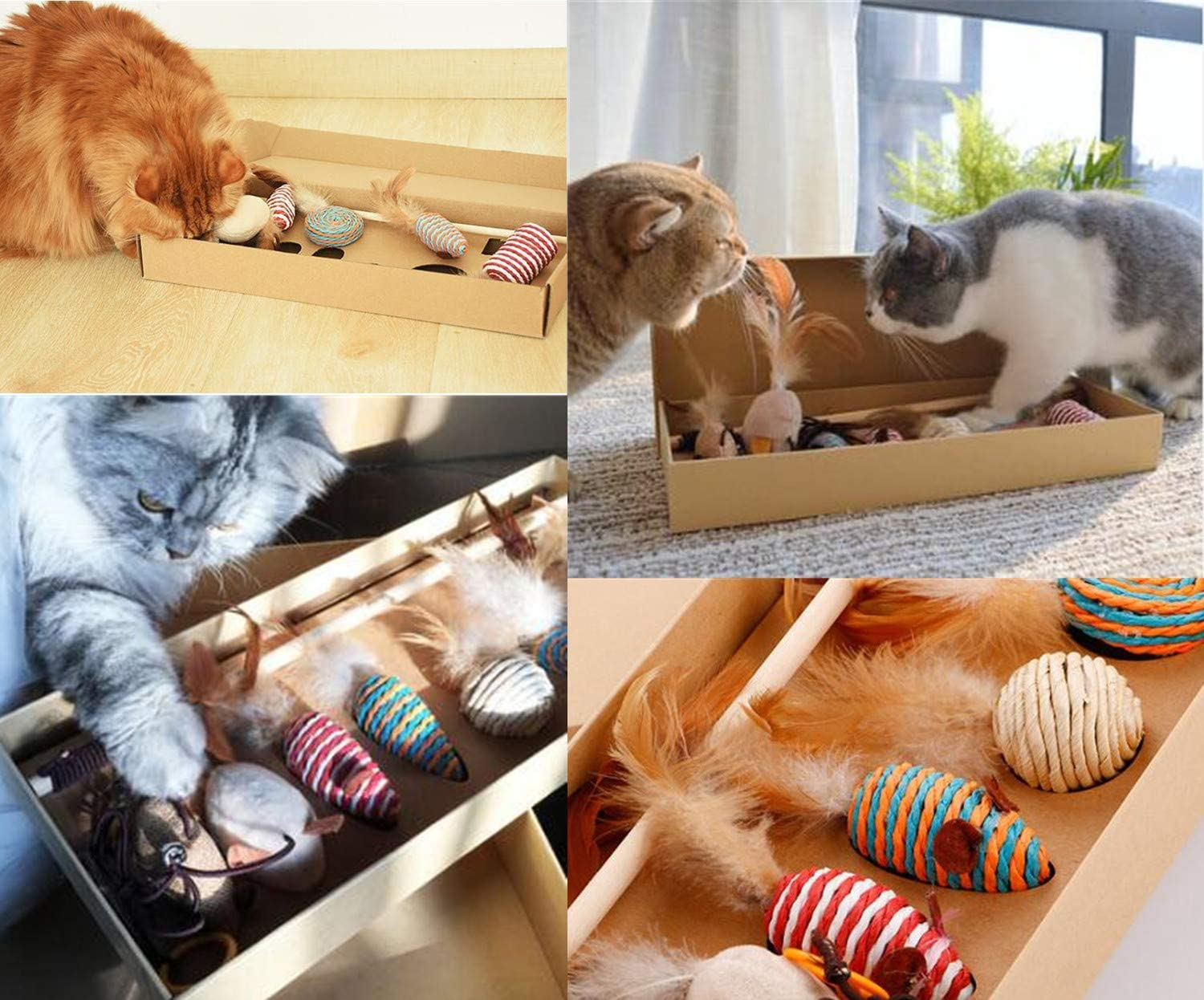 STAJOY Cat Feather Toys Set with 7Packs Feather Ball Mice Interactive/ Cat Toys