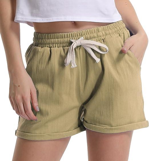 Cromoncent Womens Casual Comfy Elastic Waist Linen Straight Shorts Pants
