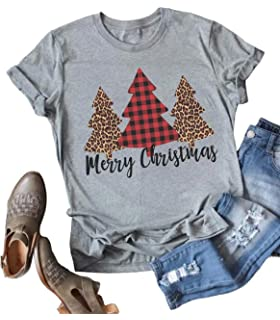 b99f6a79d56 Women Leopard Plaid Christmas Tree Shirt Merry Christmas Letters Print  Casual V Neck Short Sleeve Tshirt