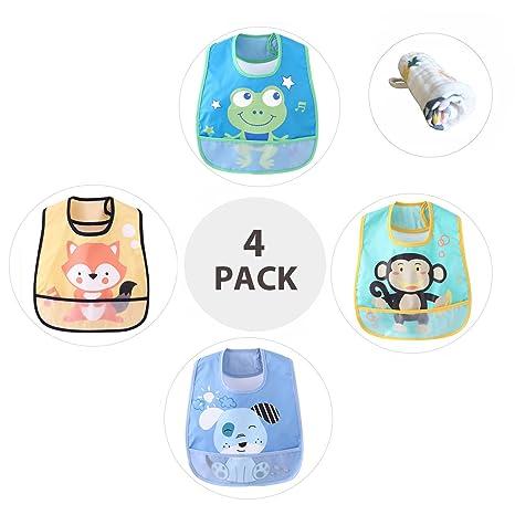babylaza lavable babero impermeable bebé mono babero Velcro bolsillo baberos valor conjunto de 4, libre