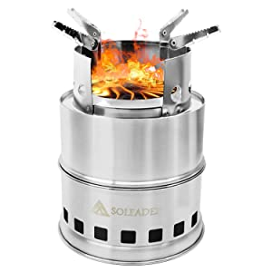 SOLEADER Portable Wood Burning Camp Stoves - Compact Gasifier Stove - Twig Stove For Camping, Hiking, Backpacking The 3rd Generation