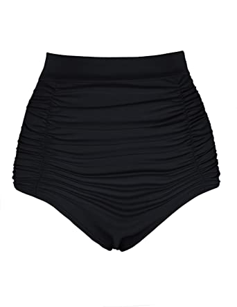 9e8e2a2fd8 Hilor Women s High Waisted Bikini Bottom Ruched Tankini Briefs Swim Shorts  Black 8