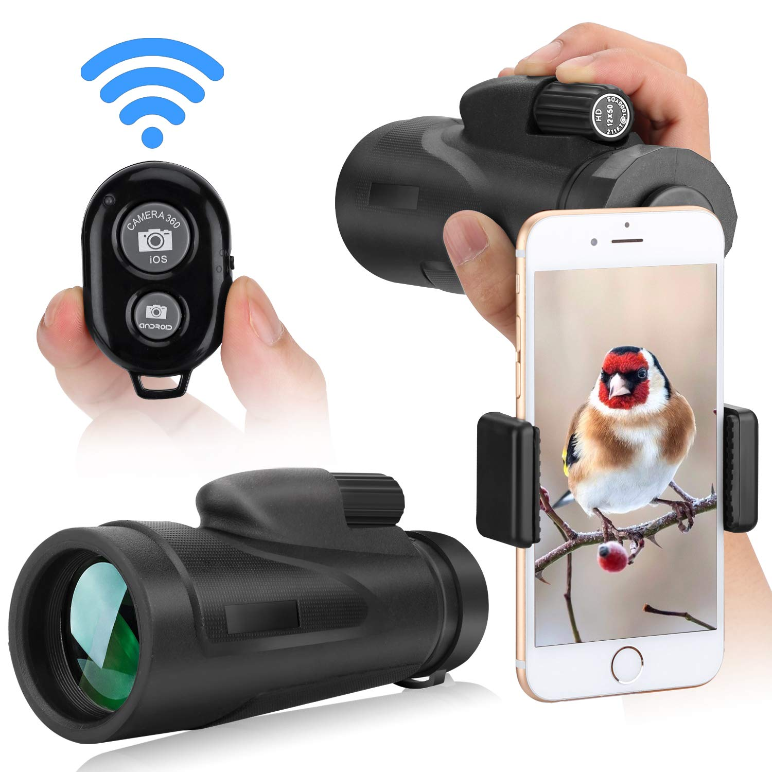 Monocular Telescope for iPhone Smartphone, 12X50 High Power BAK4 Prism Monocular with Waterproof Fog,Telescope for Adults Bird Watching Hunting Camping Travelling CCX by CCX