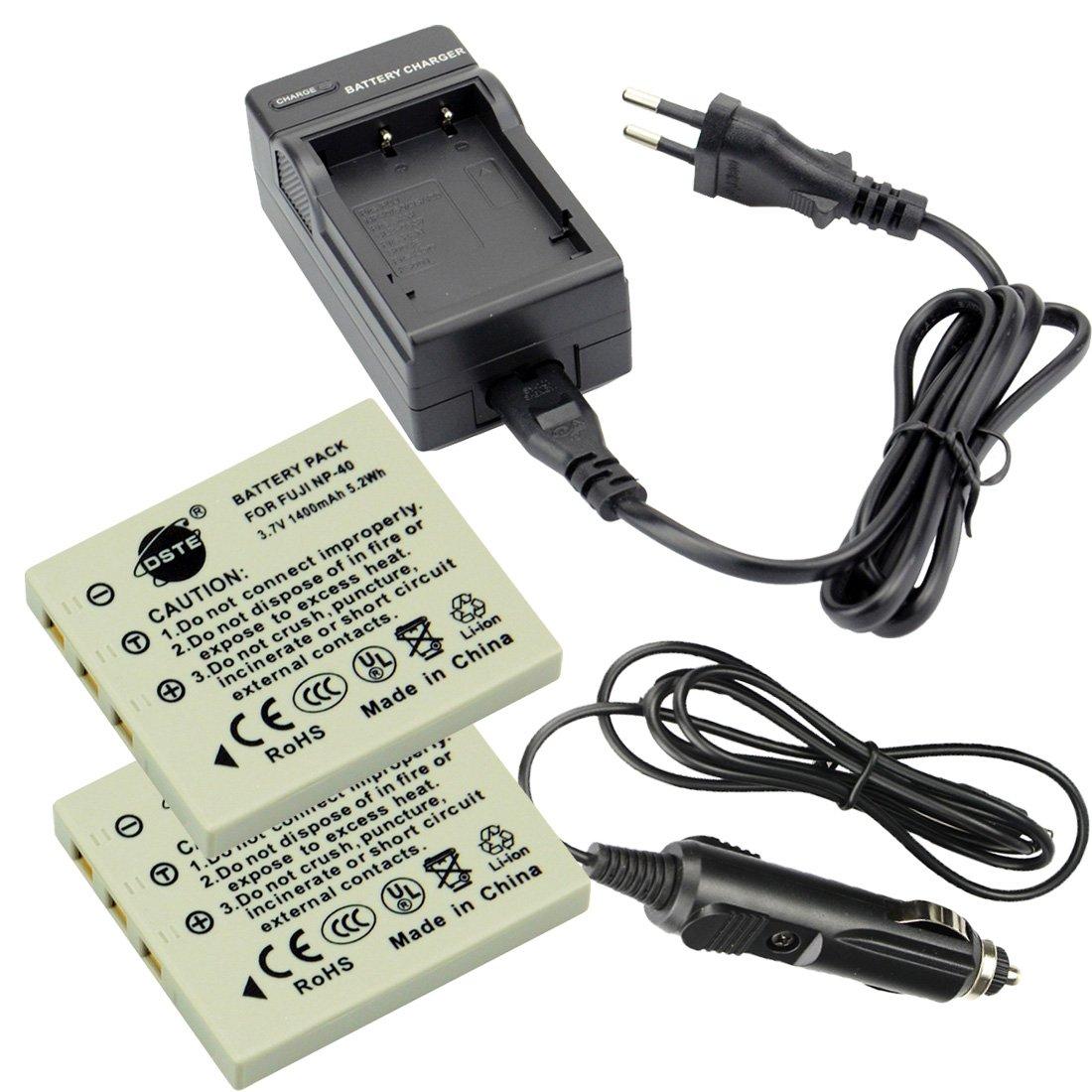 DC29E Caricabatteria per Fujifilm NP-40 FinePix F460 F470 F480 F610 F650 F402 F403 F420 F455 F700 F710 F810 F811 J50 V10 Z1 Z2 Z3 Z5fd DSTE 2-pacco Ricambio Batteria