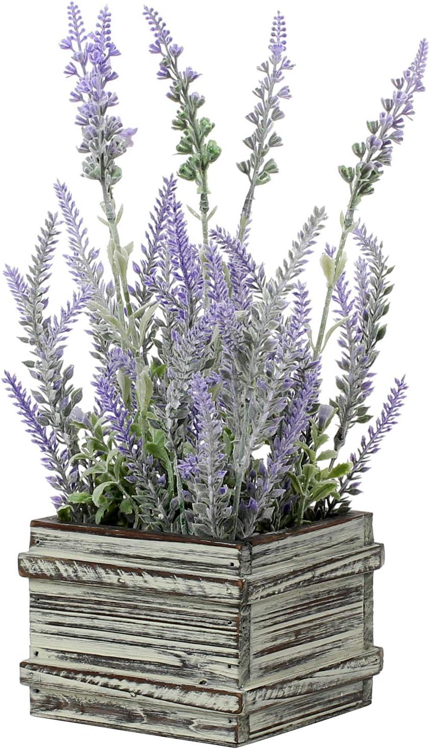 Artificial Lavender Decor Fake Lavender Plant in Rustic Wooden Box for Home Garden Wedding Decorations - Artificial Flowers - Purple Decor