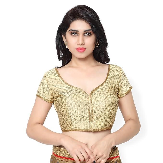 Fabulous dorado Colored Readymade Brocade Blusa por Triveni, Mujer, color dorado, tamaño S66
