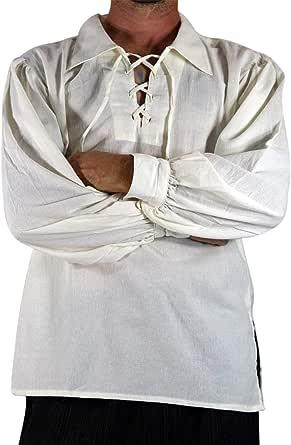 tianxinxishop Camisa con Cordones renacentista Medieval para Hombres Disfraz de Pirata de la Edad Media Blanco/Negro