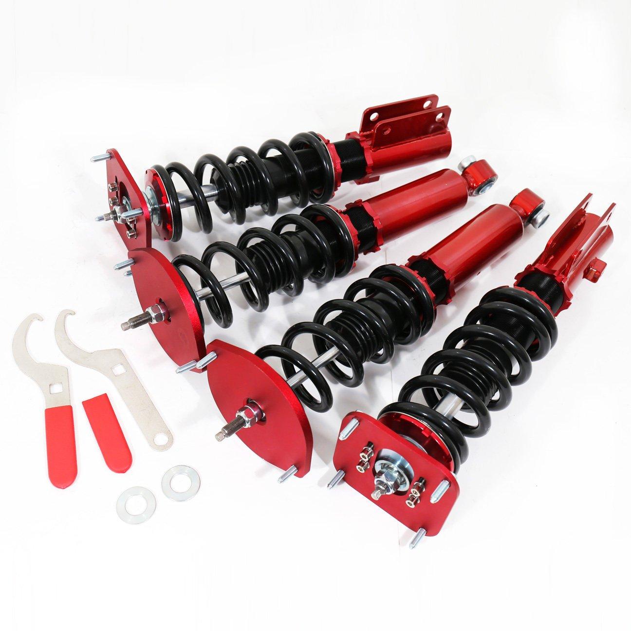 AJP Distributors Suspension Full Adjustable Lowering Spring Shocks Strut Coilover Dampers Kit Racing Red For Mazda Rx7 Rx-7 Fc