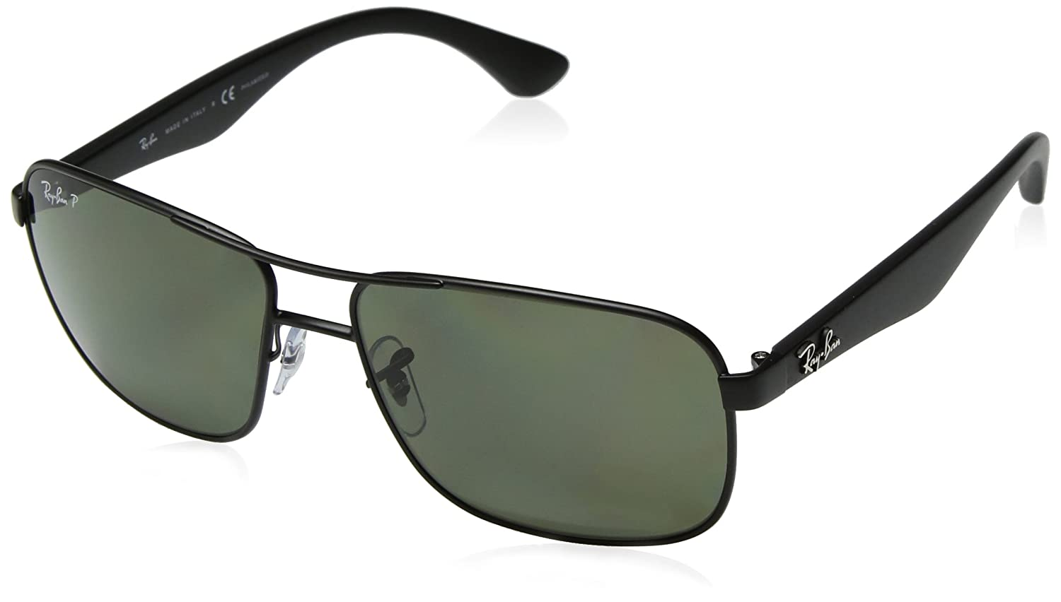 Ray-Ban Mens RB3515 Square Metal Sunglasses, Matte Black/Polarized Green, 59 mm