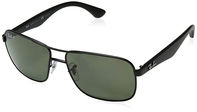 7f079f0c8 Amazon.com: Ray-Ban Polarized RB3516 Sunglasses - Matte Black Frame/Green  Lens: Ray-Ban: Clothing