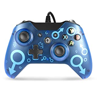 Wired Controller for Xbox One, W&O Game Controller Compatible with Xbox One/One S/One X/One Elite/Windows 7/8/10 (Blue)