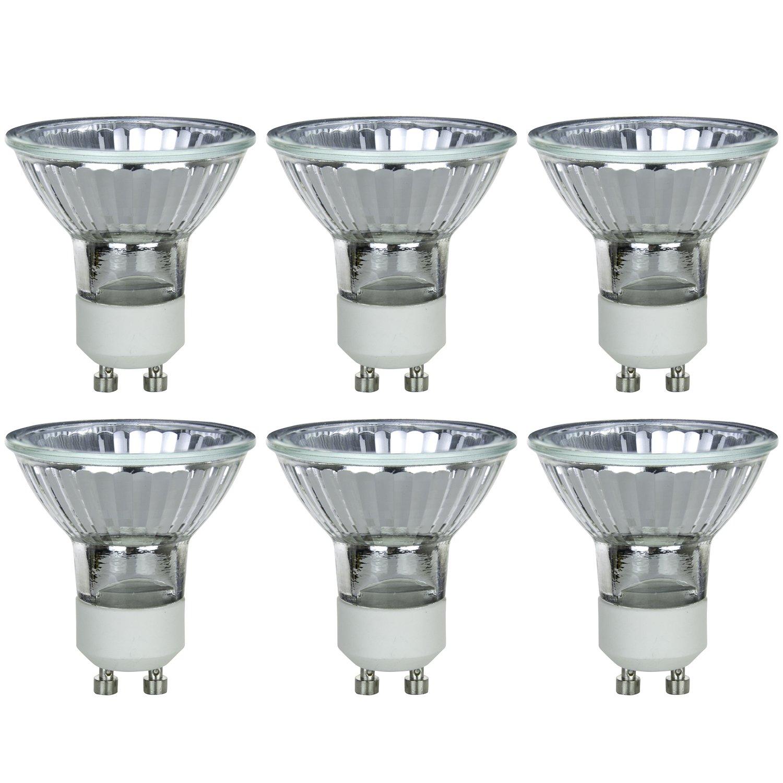 Sunlite Series 20MR16/GU10/FL/120V/6PK Halogen 20W 120V MR16 Flood Light Bulbs, 3200K Bright White, GU10 Base, 6 Pack