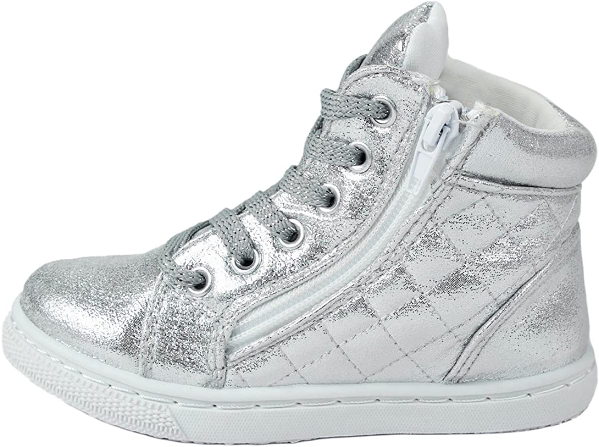 Kids Girls Fashion Leatherette Lace-up Zip Decor High Top Wedge Sneaker Booties
