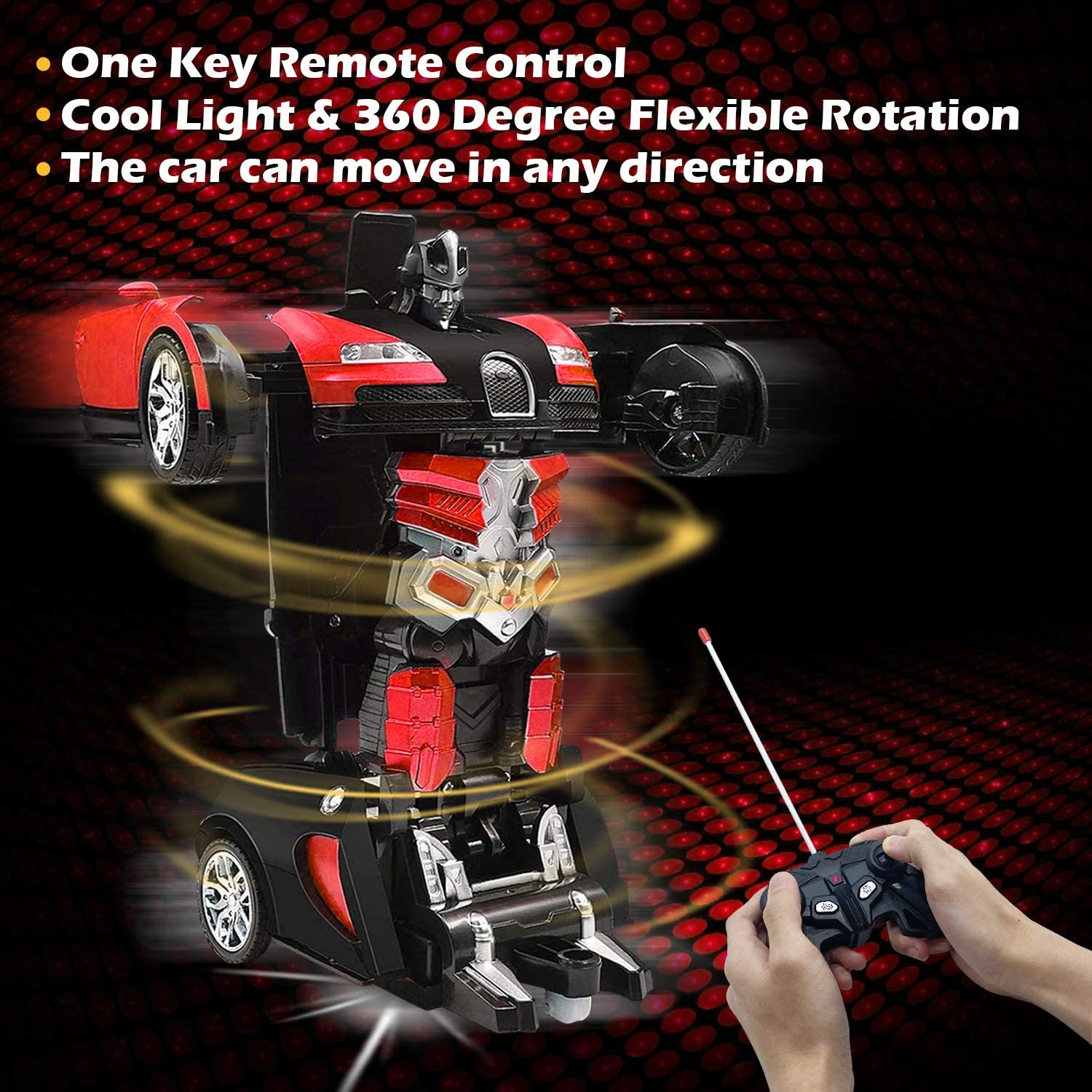 AMENON Remote Control Car Transform Car Robot Toy 2.4Ghz Deformation RC Car with Lights 1:18 Rechargeable 360/°Rotating Stunt Car Toys for Kids Boys Girls Age 6 7 8 9 10 11 Year Old Holiday Xmas Gift