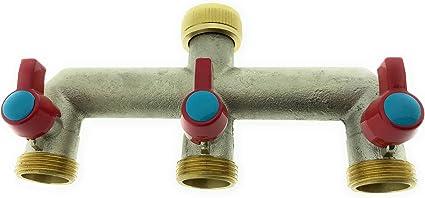 Distributore dAcqua a 3 Vie 14382 3//4 3 rubinetti a Sfera in Ottone VARIOSAN