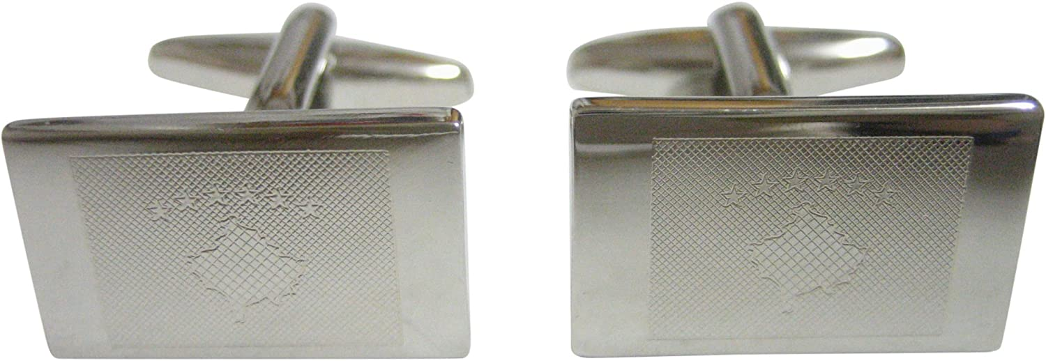 Silver Toned Etched Kosovo Flag Cufflinks