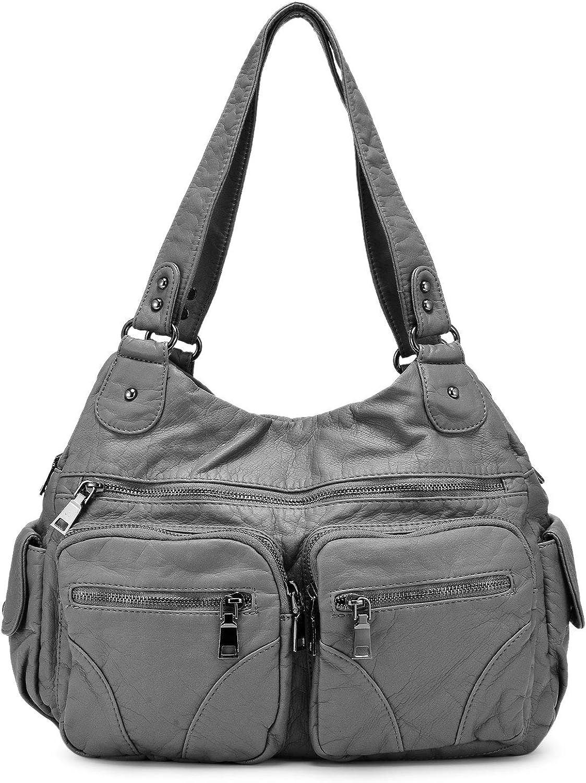 BAIGIO Washed Leather Handbags for Women Soft Shoulder Bag 3 Front Zipper Soft PU Retro Hobo Purse Cross-body Satchel