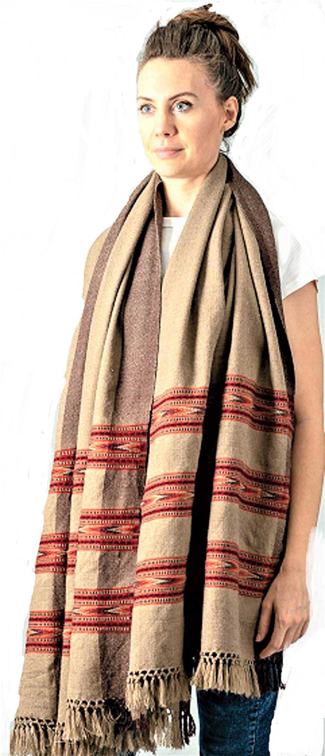 Meditation Shawl by Om Shanti Crafts | Prayer Shawl, Buddha Blanket, Oversize Scarf Wool Wrap for Daily Meditation, Unisex (Extra Large 7.5'x3.5') (Brown)