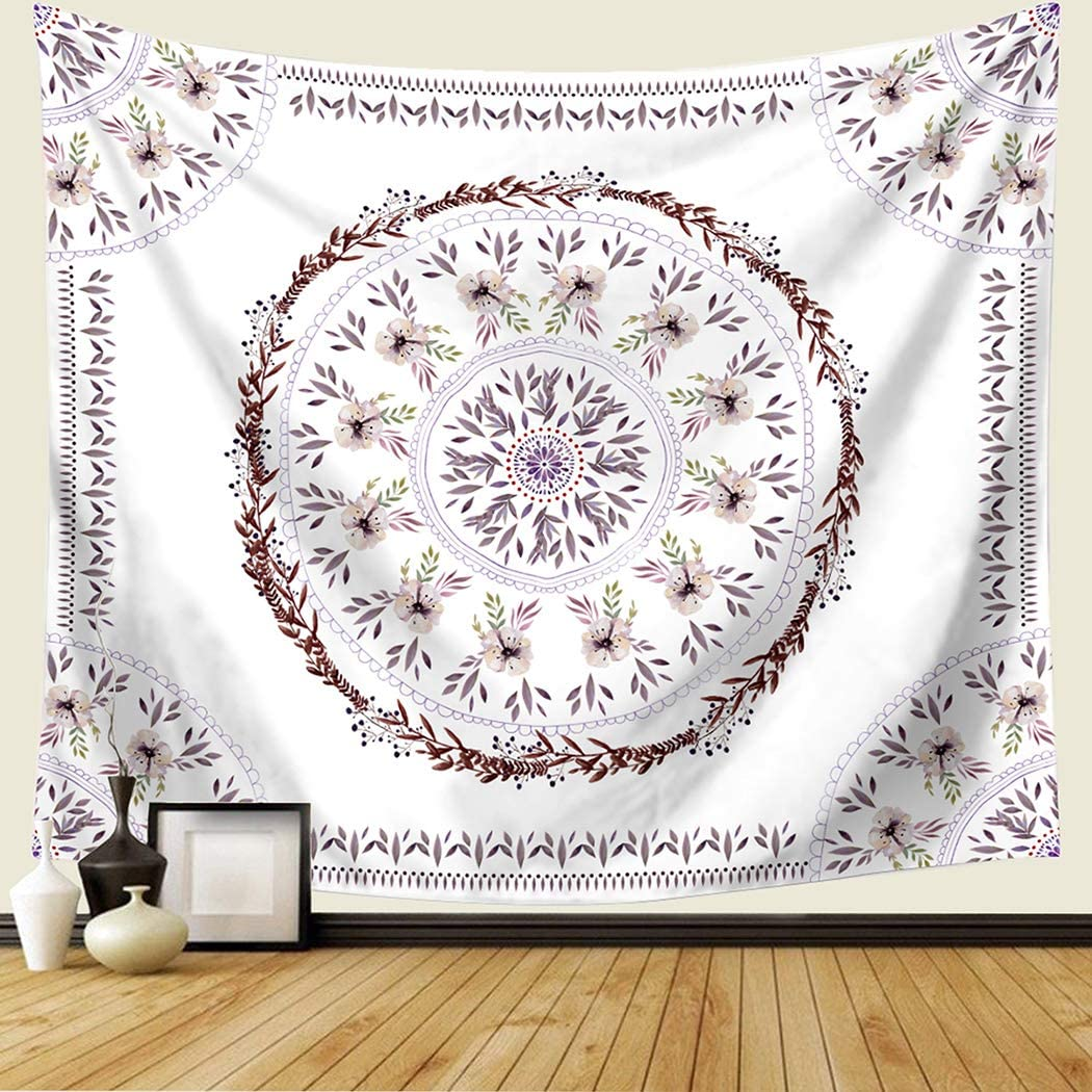 TSDA Floral Medallion Tapestry Daisy Sketched Plant Wall Hanging Flower Mandala Tapestry Decor for Living Room Bedroom Dorm (Small-59 x 51 In)