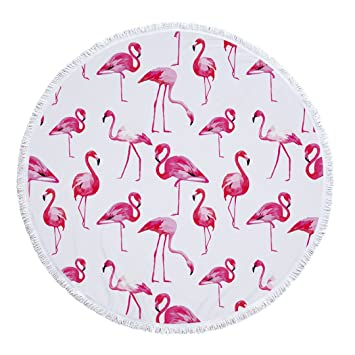 Stillshine Toalla de Playa de Redondo de Flamingo Tapicería Toalla de Playa Mandala, Colcha del