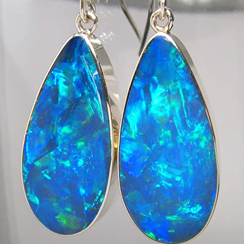 Australian Opal Spiral earrings made of pure silver