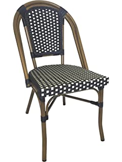 Table In A Bag CBCNW Faux Bamboo All Weather Wicker Stackable Bistro Chair,  Navy