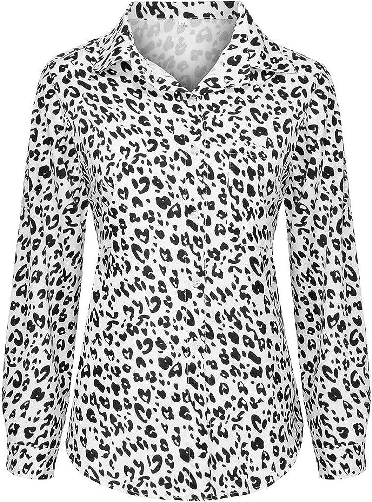 nikunLONG Womens Office Shirts V Neck Blouse Leopard Casual Print T-Shirt Tunic Long Sleeve Button Shirt Tops