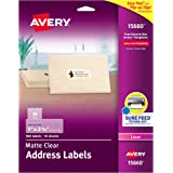 """Avery Clear Address Labels for Laser Printers with Sure Feed, 1"""" x 2-5/8"""", 300 Frosted Holiday Labels (15660)"""
