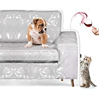 Homemaxs Couch Cover, Cat Scratching Protector Heavy Duty Waterproof See-Through Plastic Slipcover for 2 Cushion…