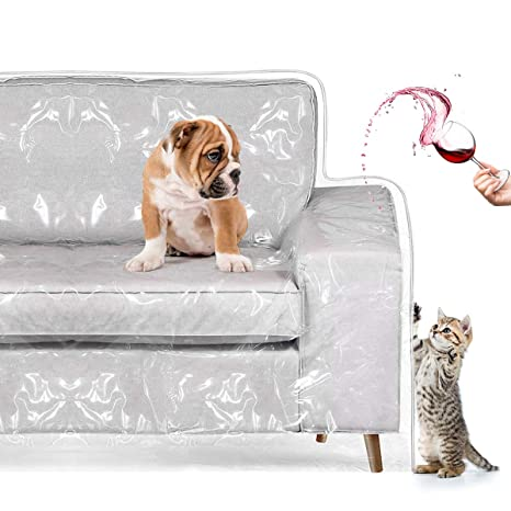 Superb Homemaxs Couch Cover Cat Scratching Protector Heavy Duty Waterproof See Through Plastic Slipcover For 2 Cushion Loveseat Furniture Protection From Machost Co Dining Chair Design Ideas Machostcouk