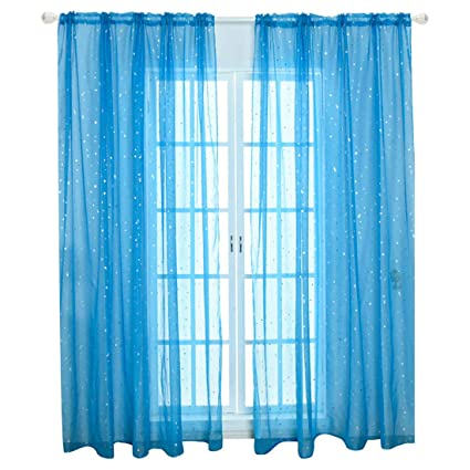 WUBODTI Kid Boy Room Window Sheer Sky Blue Curtain Panels Rod Pocket  Beautiful Star Voile Sheer Drapes Curtains for Bedroom Living Room Nursery  ...