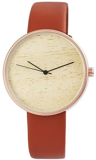 Reloj mujer marrón madera de piel Look analógico de cuarzo reloj de pulsera