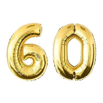 NUOLUX 40 Pulgadas de Oro Globo de la Hoja, Jumbo Número 60o Globo para el Cumpleaños del Festival Aniversario de la Fiesta Decoraciones Photo Props