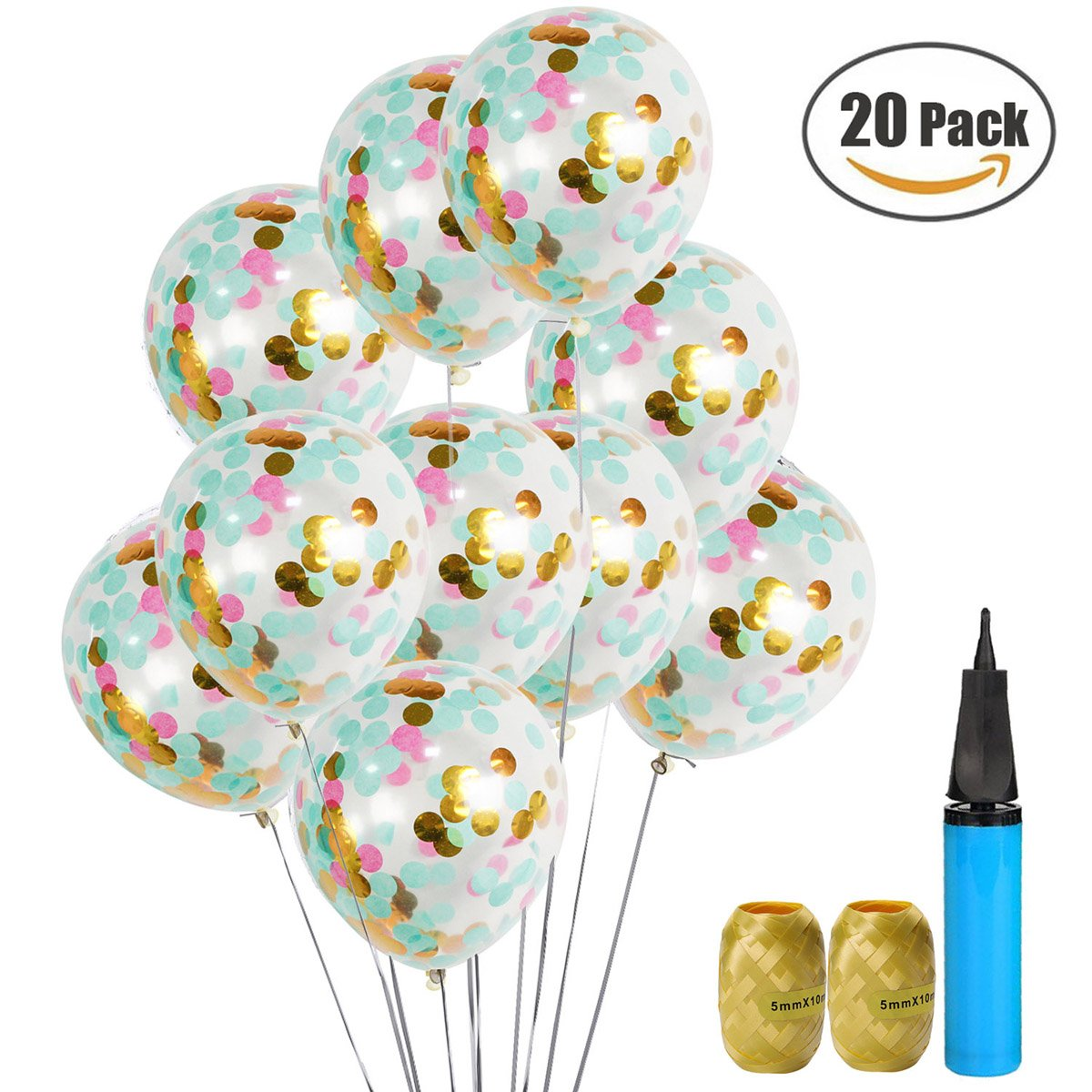 Amazon.com: UTOPP 20 Pack Confetti Balloons Tiffany Blue Pink and ...