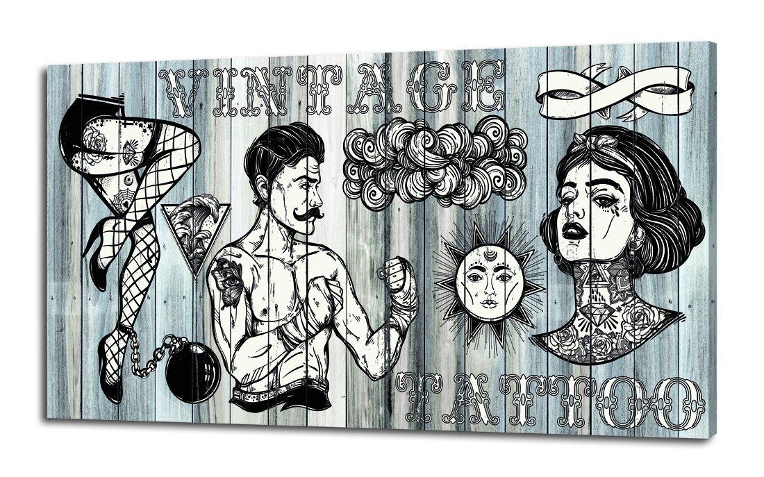 Pintdecor Tattoo Pannello Luminoso, Legno di Abete, Bianco Nero, 80x40x4.5 cm Adria Art GL3480