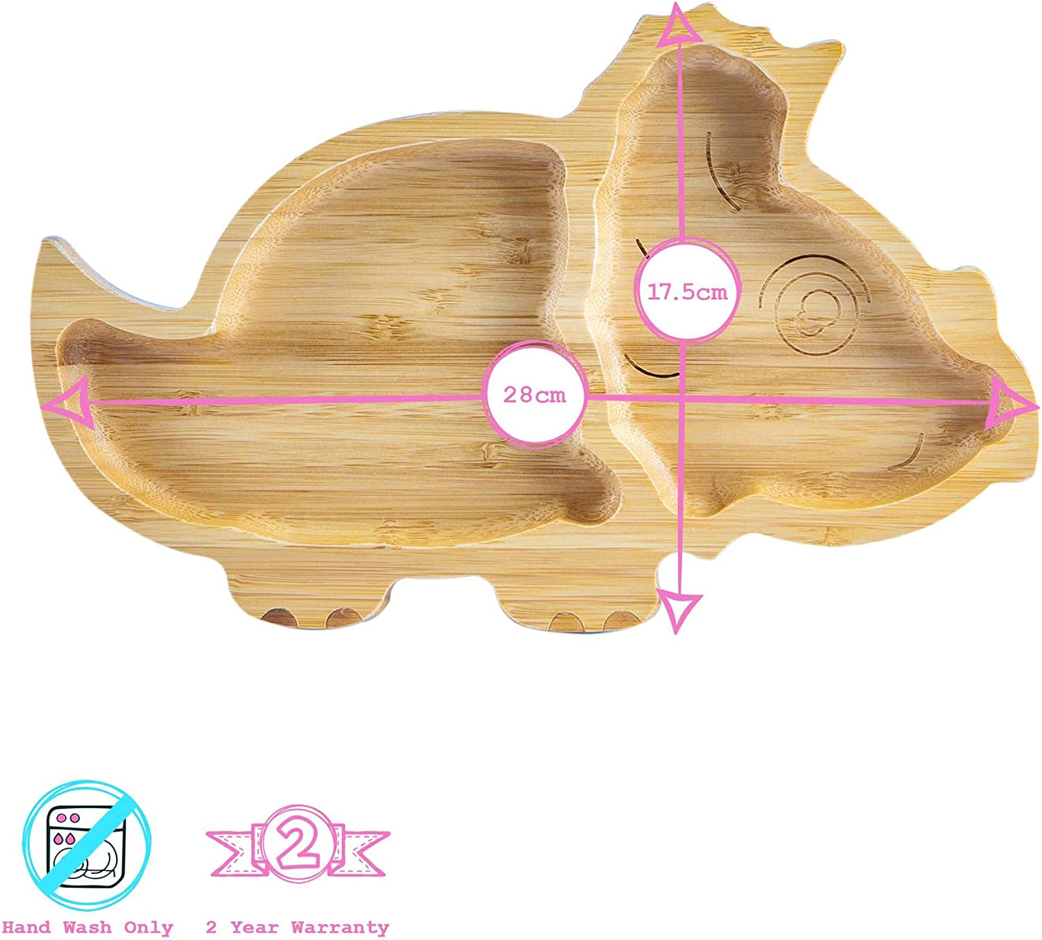 Tiny Dining Childrens Bamboo Dinosaur Plate with Suction Cup Segmented Design Eco-friendly Blue 28cm
