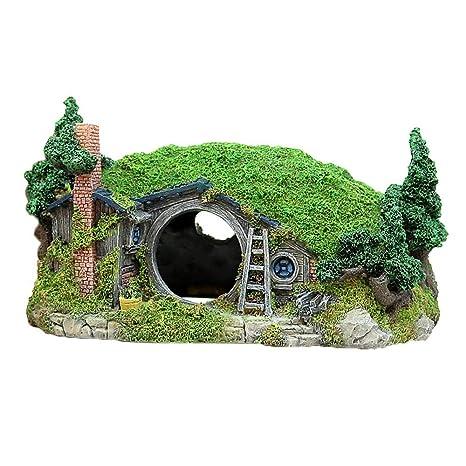 Amakunft Miniatura Paisaje Colina decoración para acuarios, Caja de Reptiles Refugio Ornamento, Hada Agujero