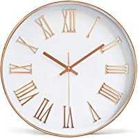 Tebery 12-inch Silent Non-Ticking Round Wall Clocks Decorative Roman Numeral Clock