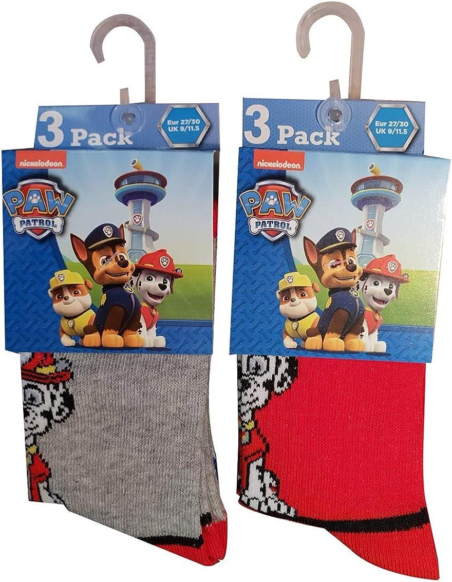 Nickelodeon Paw Patrol Pack de 6 calcetines para perros Chase, Rubble y Marshall, rojo/gris (23/26): Amazon.es: Ropa y accesorios