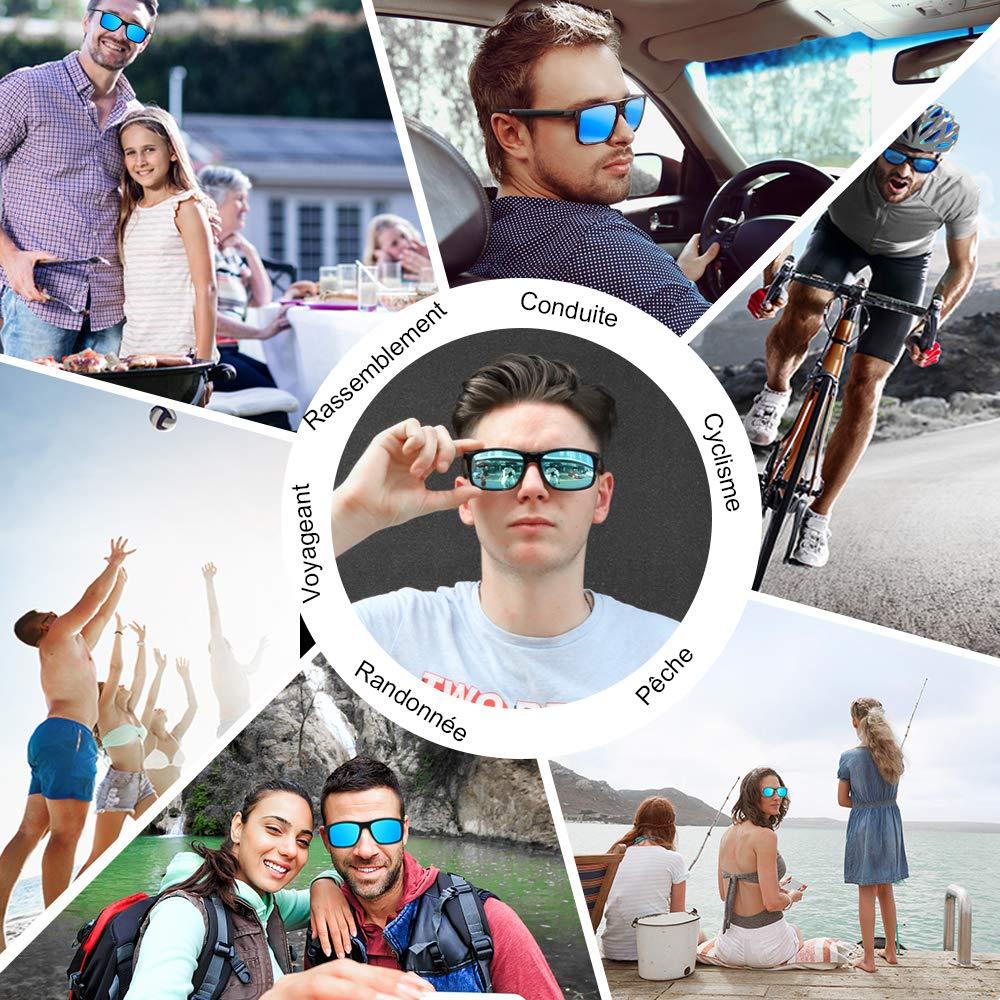 Lunette de Soleil Homme Polarisées Sport, 100% anti UV400, Super Léger, Elégantes et Durables Lunettes de Soleil Femme pour la randonnée, la mer, la course à pied, la pêche